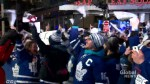 Fans of Toronto Maple Leafs cheer after Game 1 win against Boston Bruins